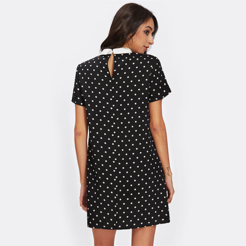 Contrast Collar Polka Dot Straight Dress Casual