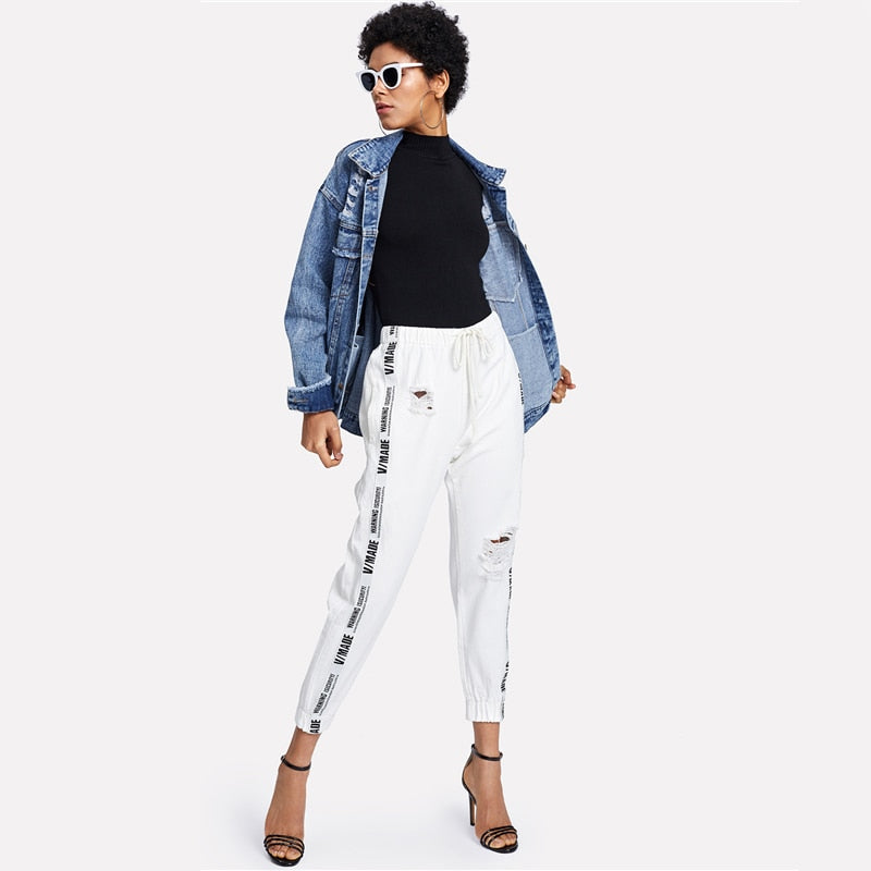 Ribbon Letter Ripped Drawstring Denim Mid Waist Casual Long Pants
