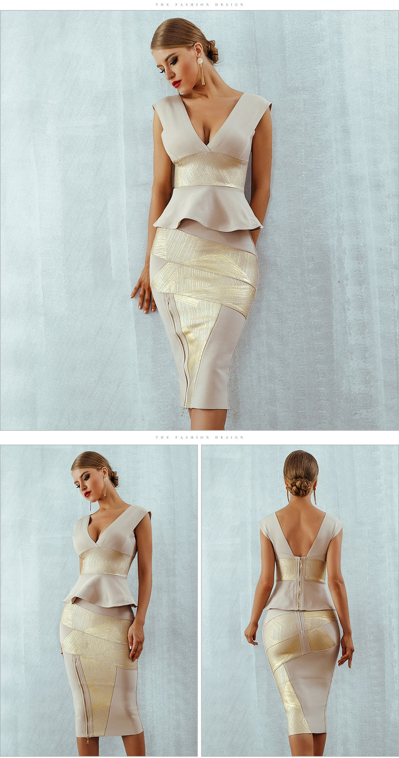 Gold Mesh Runway Dress Ruffles Celebrity Party Dress