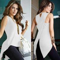Sleeveless 's Casual Slim Slit Irregular
