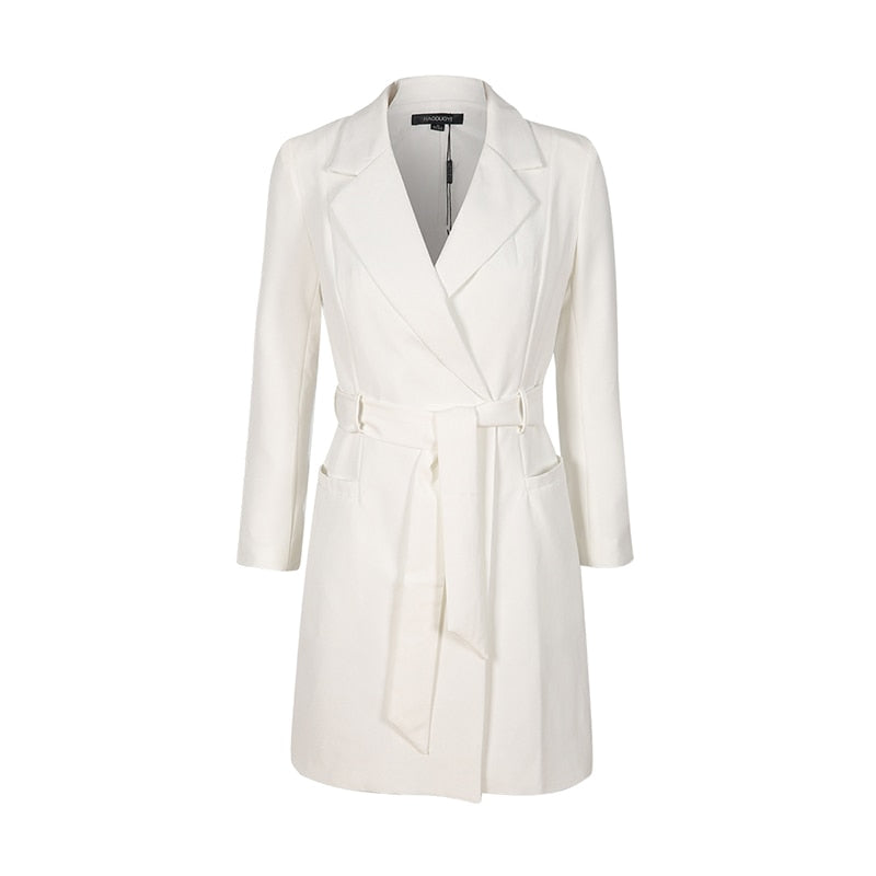 Solid White Belt Notched Long Sleeve Suit Leisure/Office Blazer