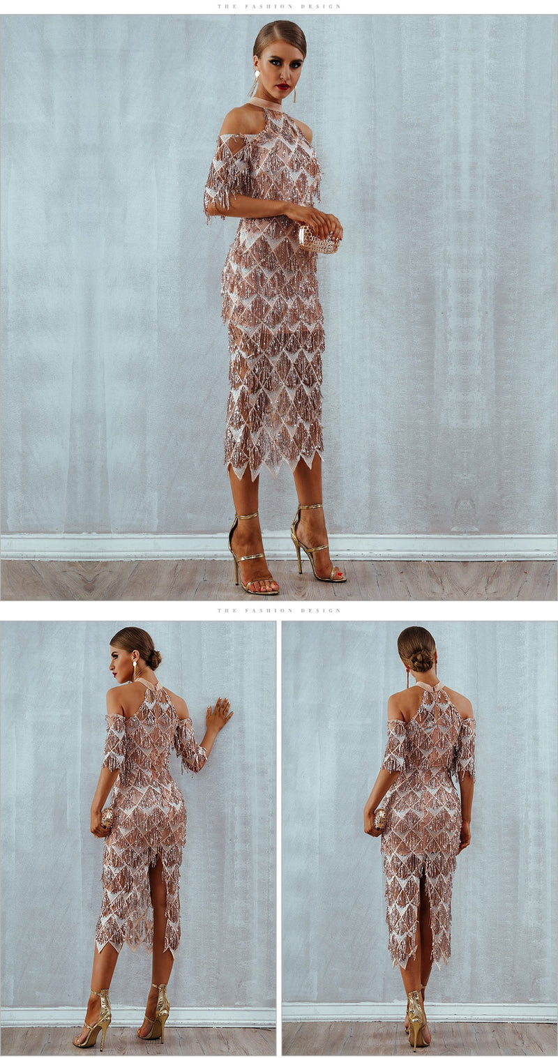 New Fashion Sequins Night Mesh Runway Dress