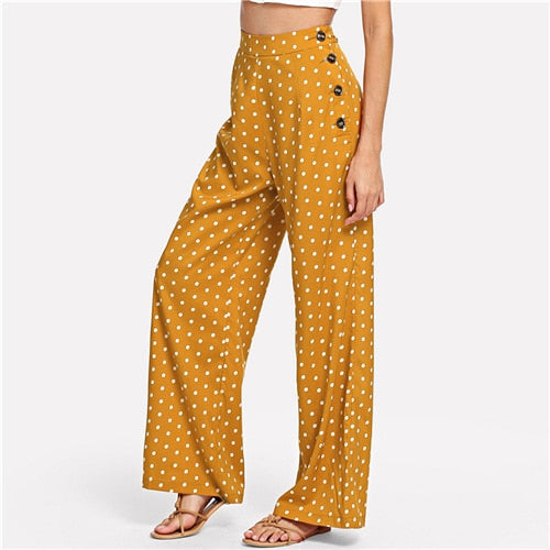 Ginger Polka Dot Side Button Fashionable Casual Trousers