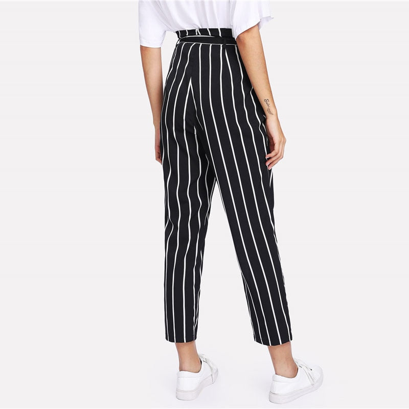 Self Belt Striped Pants Casual