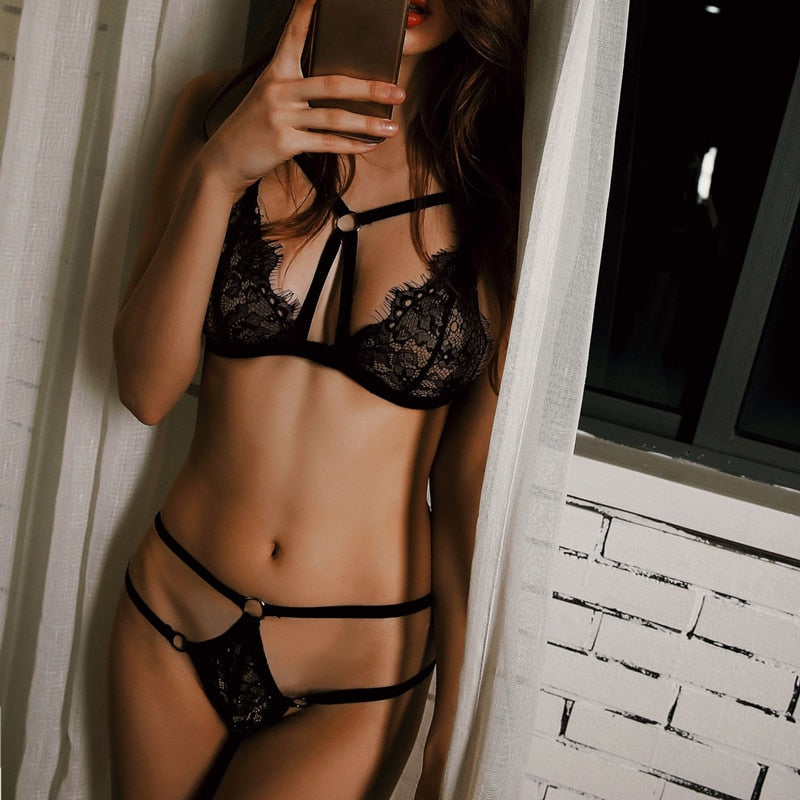 Lingerie Sexy Lace Push Up Bra & Transparent Panties Set