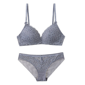 Sexy Lace 3/4 Cup Bra Thin Cotton Breathable Comfortable Underwear Set