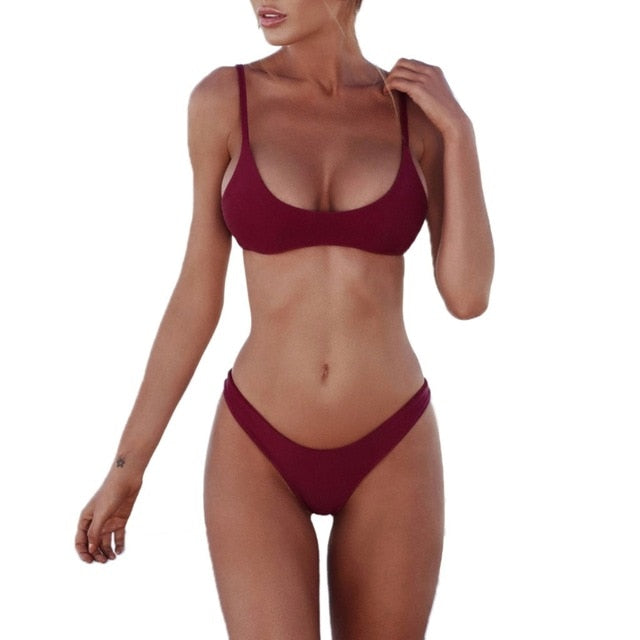 Sexy Two Piece Seamless Padded Bra Thong Bikini Swimsuit