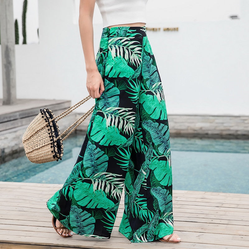 Women's Summer Casual Retro Print Bohemian Beach Pants