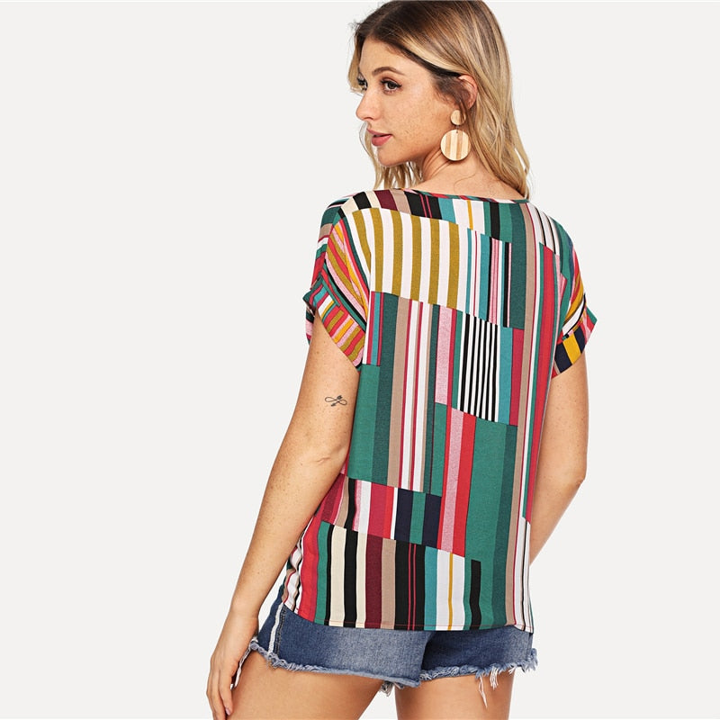 Multicolor Mix Striped Print Rolled Up Casual Short Sleeve Tops