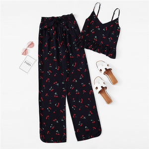 Cherry Print Ruffle Cami Pants PJ Set Multicolor