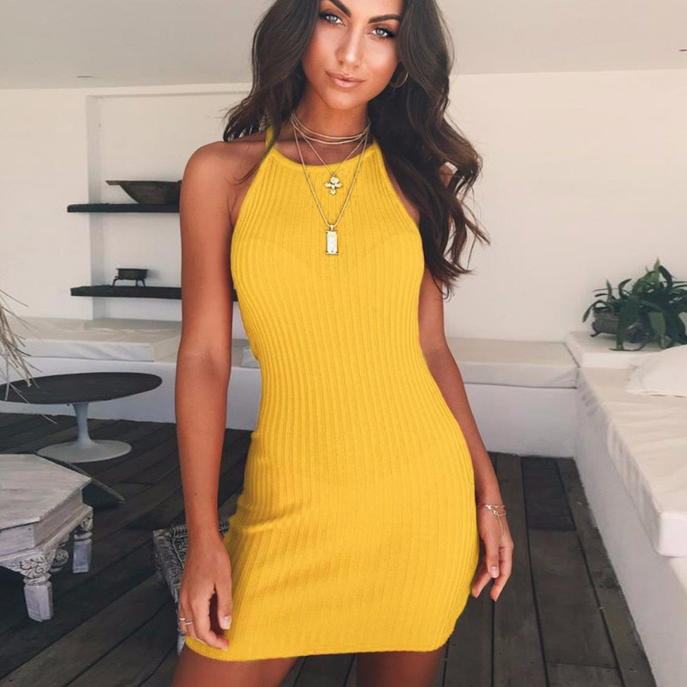 Women Casual Party Sexy Backless Sleeveless Mini Dress