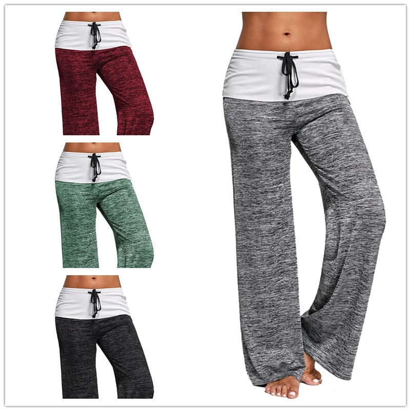 Comfortable Active, Yoga Casual Loose Drawstring Patchwork Pants