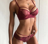 New Sexy Push up Deep V Lace Bra & Panties Embroidery Lingerie Set