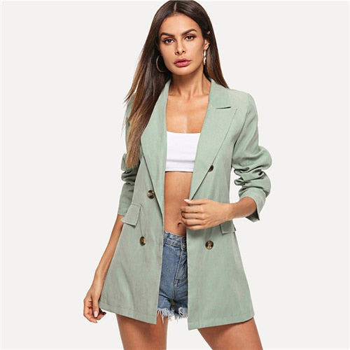 Elegant Office Ladies Shawl Collar Double Breasted Blazer