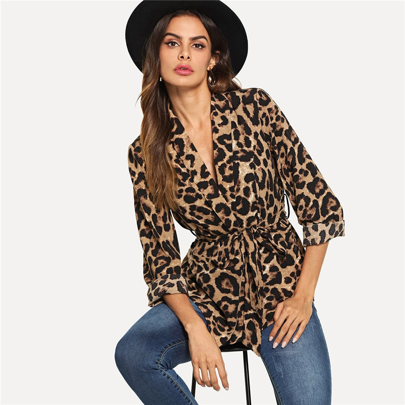 Multi-color High-street Office Belted Leopard Print Blazer