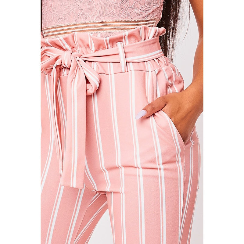 New Pink Double Striped Pants High Waist Pencil Trousers, Leggings