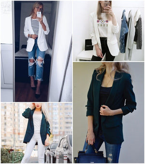 Office/ Outwear Turn-down pocket coat Ruched sleeve Cool slim blazer