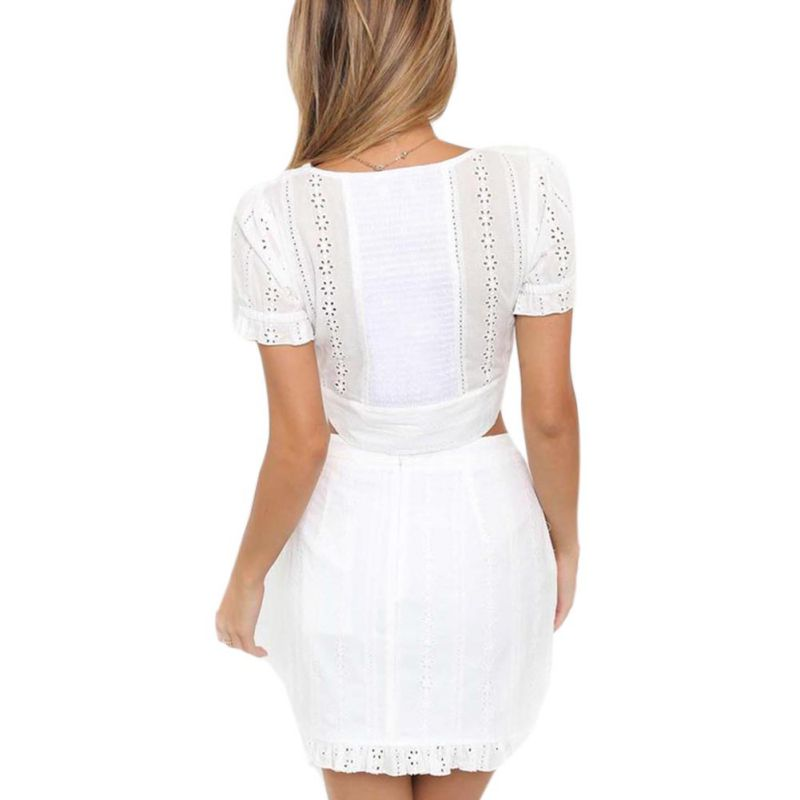 Summer Casual White Two Pieces Set Sexy Light Crop Top and Skirt