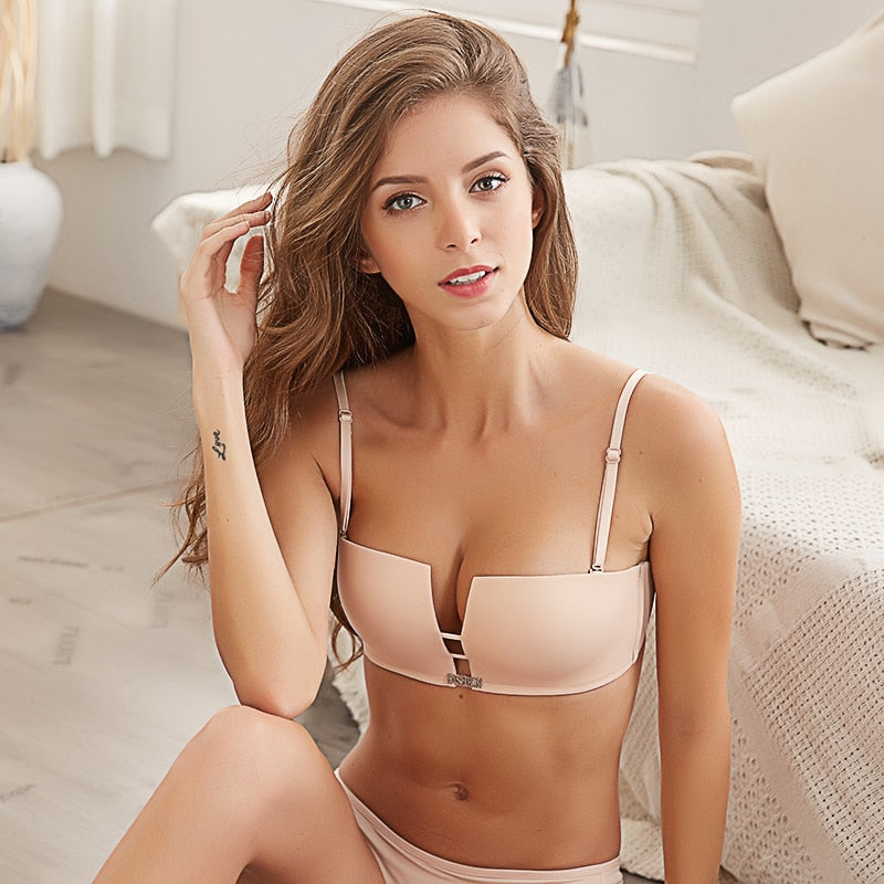 European Style Wire Free Push Up Bra & Briefs Set (Sexy Square Cup)