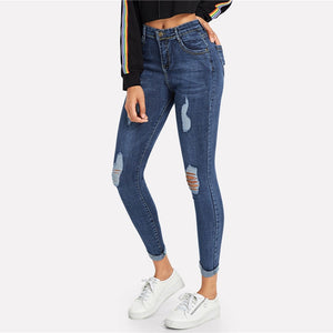 Navy Ripped Skinny Denim Jeans Summer Casual Button Fly High Waist
