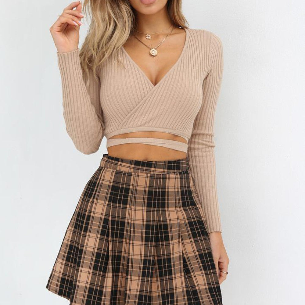 s Sexy Deep V Neck Long Sleeve Crop Tops