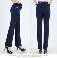 Straight Leg High Waist Office Fashionable Casual Women Trousers