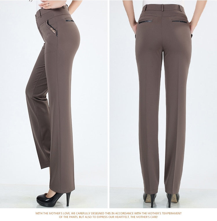 Straight Leg High Waist Office Fashionable Casual Trousers