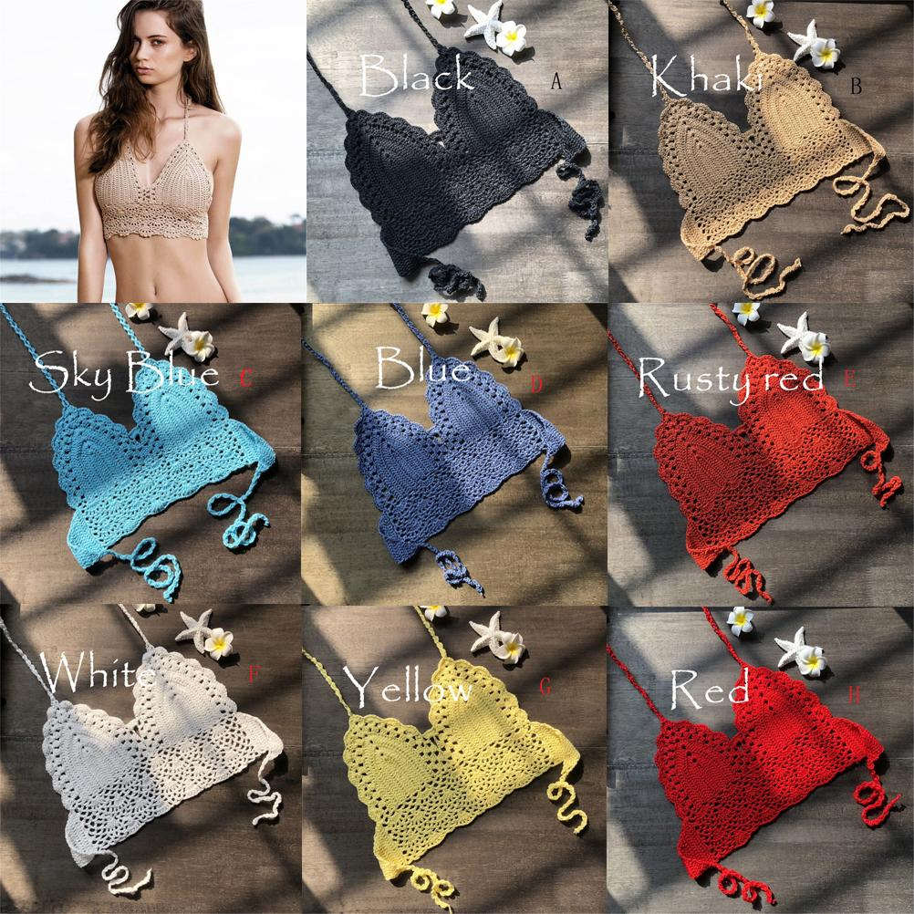 Women Bralette Halter Neck Crop Top Knit Crochet Cami Bikini Top