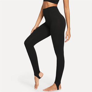 Black Casual High Rise Stirrup Solid Long Skinny Leggings
