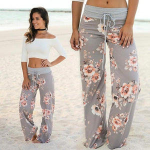 's Pants Loose Floral Print Drawstring Sweatpants