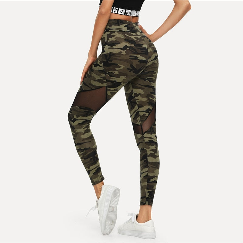 Multicolor Mesh Insert Camo Print Leggings Sporting