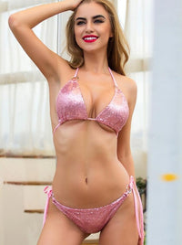 Sexy Lace Up Sequins Summer Beach Rose Gold Silver Bikini two Piece