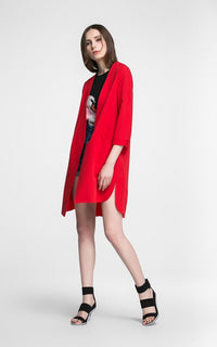 New slim single button three simple quarter sleeve V-Neck trench coat