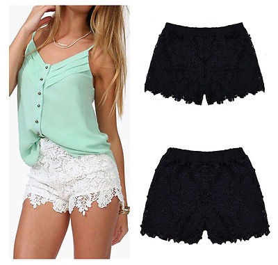 Summer Lace Floral Shorts Summer Mini Mesh Lace