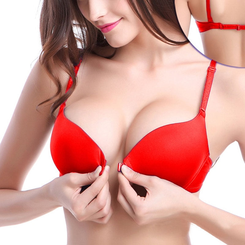 6 Color Options Fashion Sexy Lingerie Front Closure Lace Push Up Bra