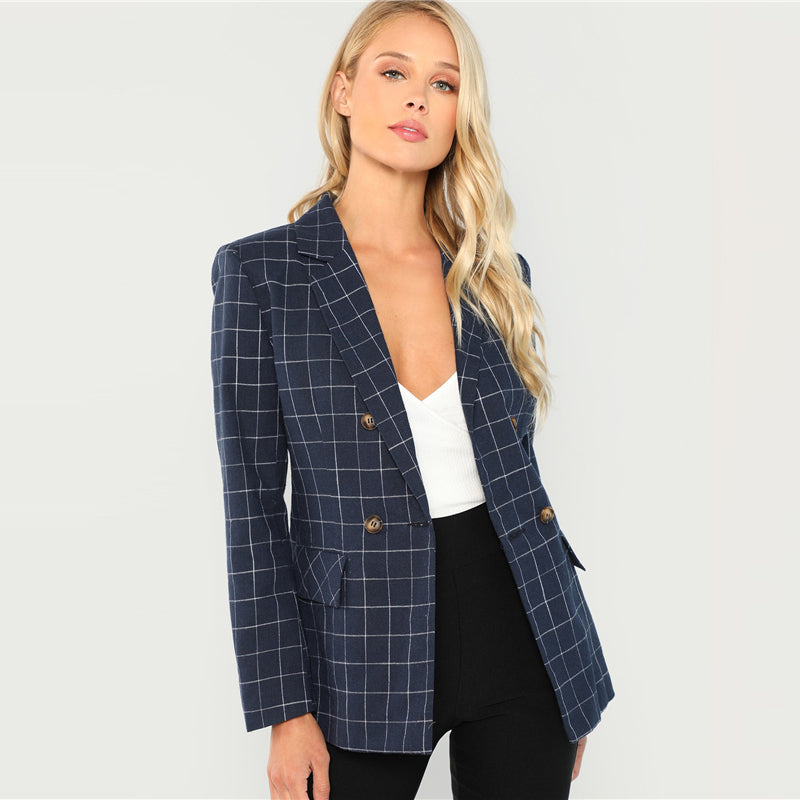 Navy Cotton Office Notched Neck Plaid Double Breasted Blazer