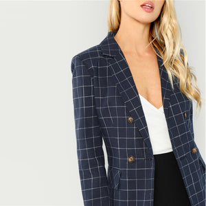 Navy Cotton Office Lady Elegant Notched Neck Plaid Double Breasted Blazer