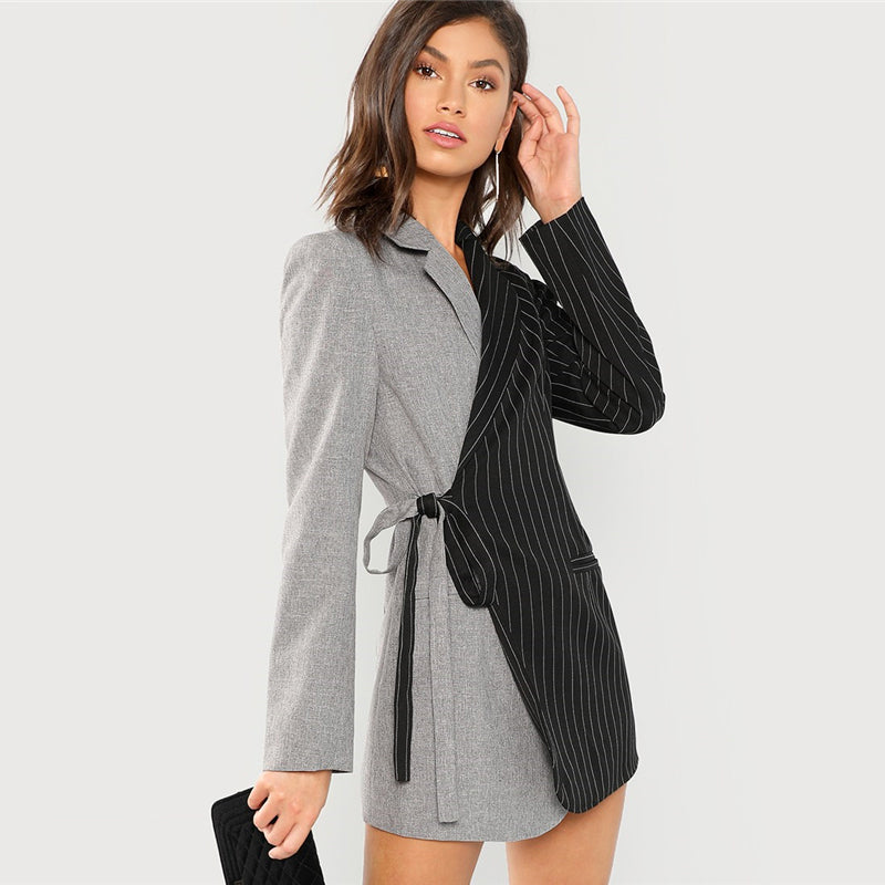Color-block Tie Waist Surplice Wrap 's Blazer