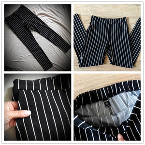 Striped Skinny Pants Elastic Waist Pocket OL Style Work Trousers