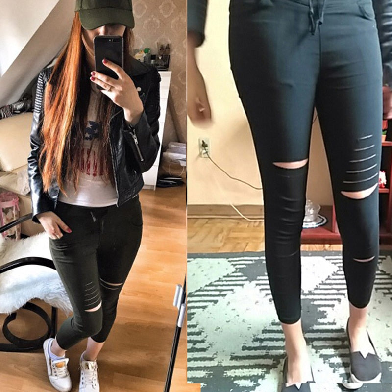 New Black Skinny Jeans Women Shredded High Waist, customer