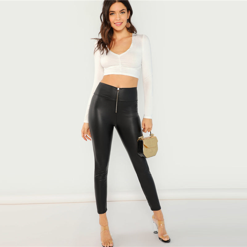 Black Modern Casual Exposed Zip Front Skinny Leggings