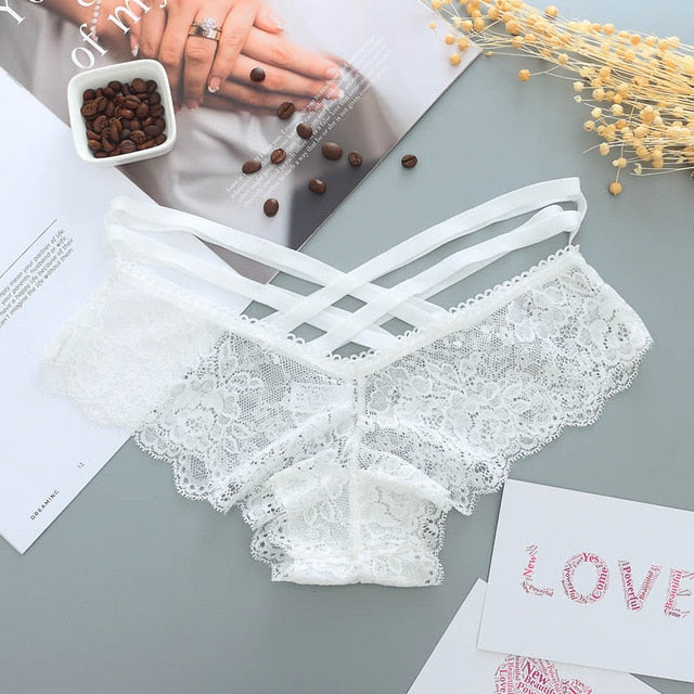 Sexy Panties Lace Low-rise Cross strap lace Lingerie Thong