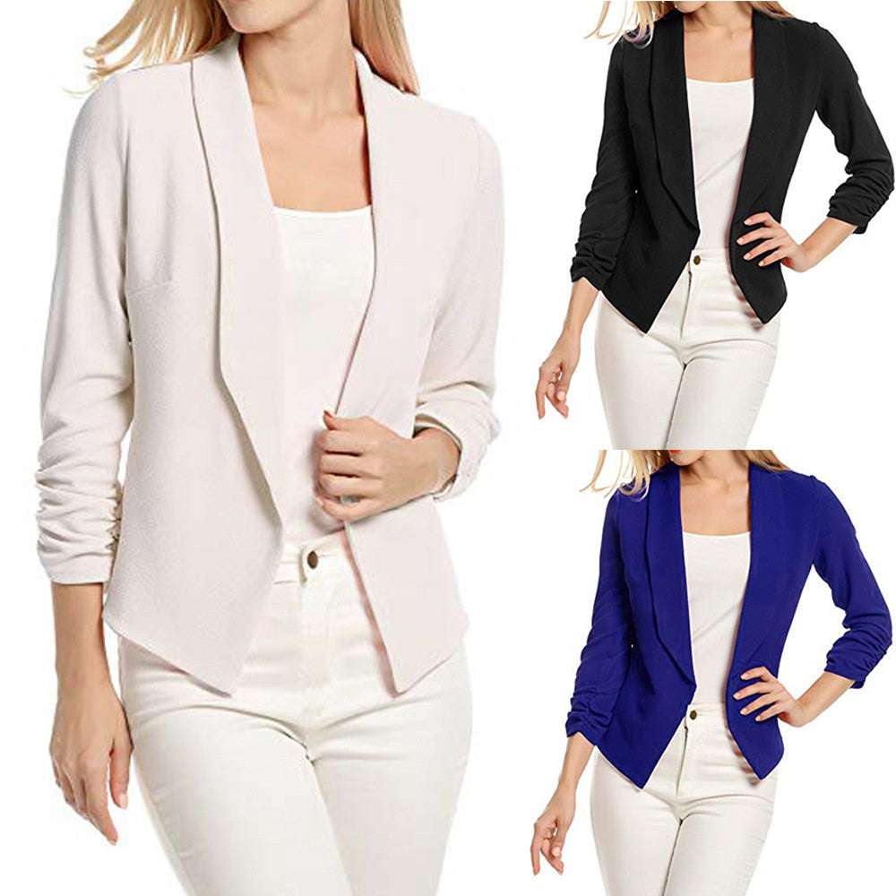 Fashion Trendy Thin Slim Fit Formal 3/4 Sleeve Office Short Blazer