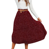 Fashion Women Pleated Polka Dot Printed Swing Evening Party Skirt