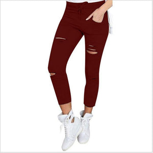 New Black Skinny Jeans Women Shredded High Waist