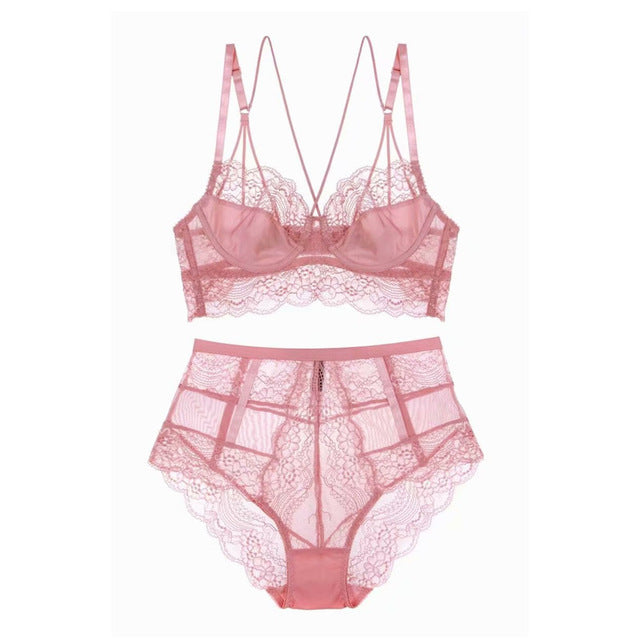 New French Style Sexy ultra-thin floral lace Home Sensual Comfort Set