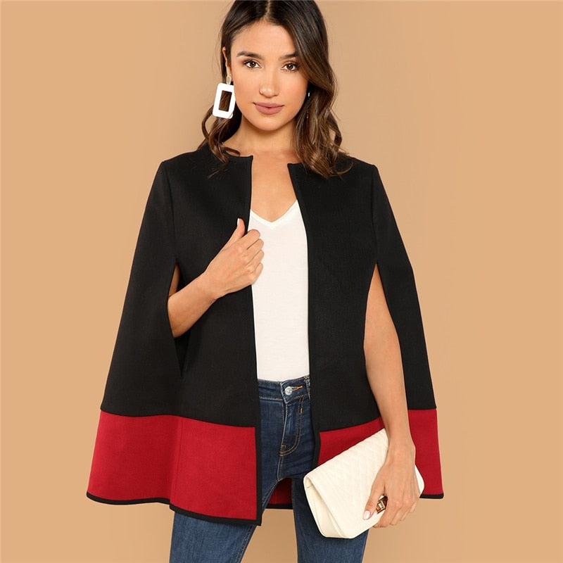 Weekend Casual Black Round Neck Two Tone Open Front Cloak Sleeve Cape Coat