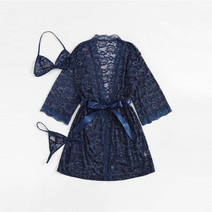 Navy Scallop Floral Lace Coat Robe With Lingerie Set