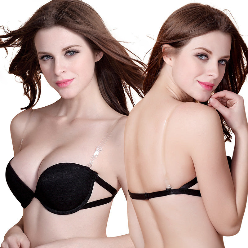 Modern Look Strapless Invisible Half Cup Sexy Push Up Bra