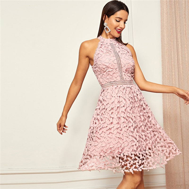 Going Out Pink Party Halter Neck Lace Halter Short Dress